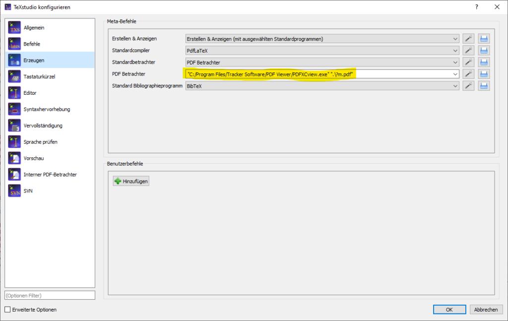 Konfiguration eines externen Viewers in TexStudio.