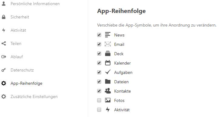 App-Order Einstellungen im persönlichen Bereich.